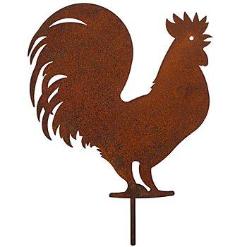 Rost-Hahn aus Metall, braun, 22 cm