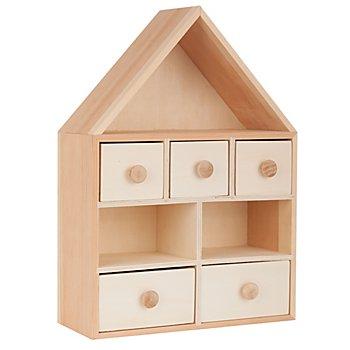 Boîte à tiroirs 'maison' en bois, 25 x 10 x 35 cm