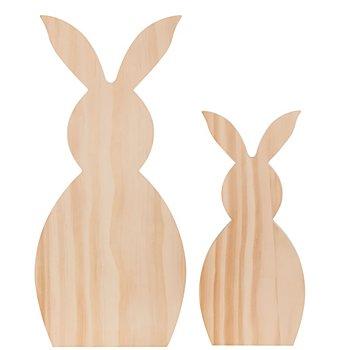 Lapins en bois brut, 35 cm et 25 cm de haut, 2 pièces