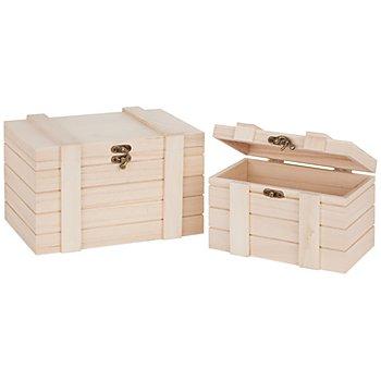 Truhen aus Holz, 25 x 16,5 x 16 cm und 20 x 12,5 x 13 cm, 2 Stück