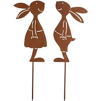 Rost-Hasenpaar aus Metall, braun, 25 cm