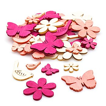Streuteile 'Frühjahr', pink/weiß, 36 Stück