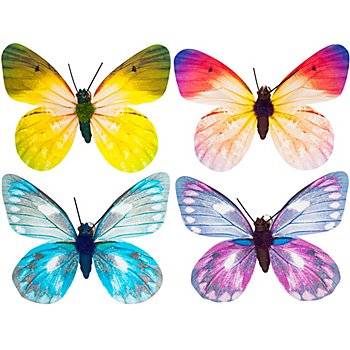 Papillons, avec pince, 8 cm, 4 pièces