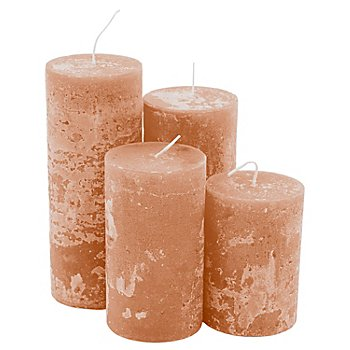 Rustikale Kerzen, braun, abgestuft, 4 Stück