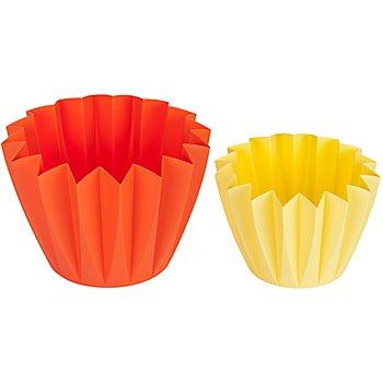 Set de pots en plastique, mangue/ananas, 2 pièces