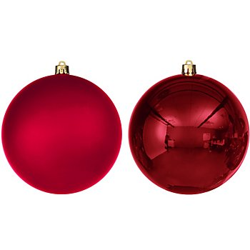 Boules de Noël en plastique, marsala, 14 cm Ø, 2 pièces