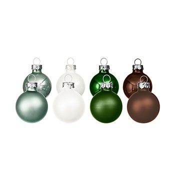 Weihnachtskugeln aus Glas, dunkelbraun, dunkelgrün, eukalyptus, opalweiß, 3 cm Ø, 16 Stück