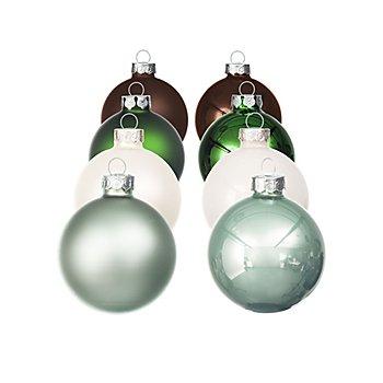 Weihnachtskugeln aus Glas, dunkelbraun, dunkelgrün, eukalyptus, opalweiß, 6 cm Ø, 16 Stück