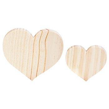 Herzen aus Holz, 2 Stück