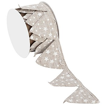 Leinenband Ziehstern 'Sterne', taupe-weiß, 5 cm, 2,5 m