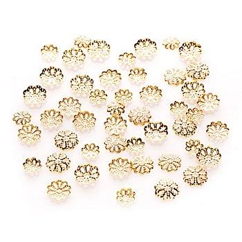 Calottes pour perles, doré, 6 - 10 mm Ø, 50 pièces