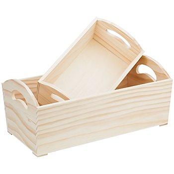 Holz-Kisten, mit Tragegriffen, 2 Stück