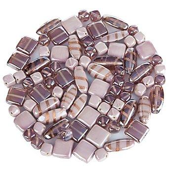 Glasperlen-Mischung, flieder, 10 - 22 mm, 150 g