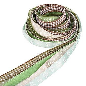 Bänderpaket 'Weihnachten', moosgrün-braun, 10 mm, 5x 2 m