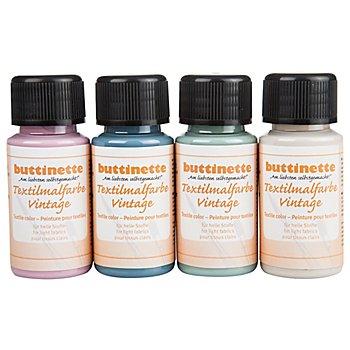 buttinette Stoffmalfarben-Set 'Vintage', 4x 50 ml