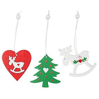 Motifs de Noël en bois à suspendre, rouge/vert/blanc, 6 cm, 9 pièces