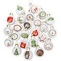 """Chiffres pour calendrier de l'Avent """"boules de Noël"""", en verre, blanc"""