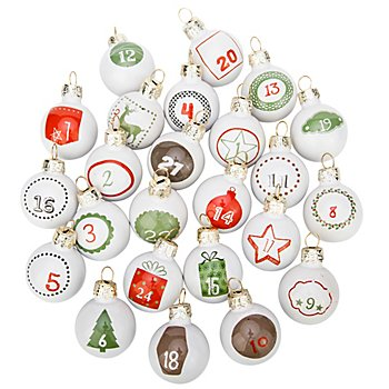 Chiffres pour calendrier de l'Avent 'boules de Noël', en verre, blanc