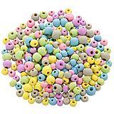 Holzperlen-Mix, pastell, 6 - 8 mm Ø, 50 g