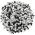 Holzperlen-Mix, schwarz-grau-weiß, 3 und 6 mm Ø, 50 g