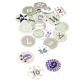 Chiffres pour calendrier de l'Avent, en bois, gris/blanc/violet, 3 cm, 24 pièces