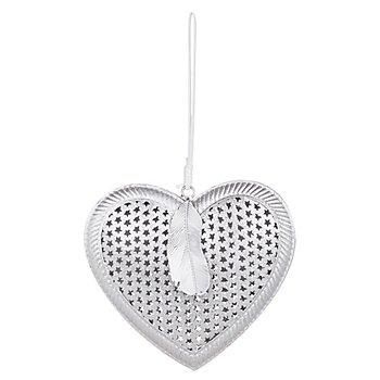 Motif 'cœur' en métal à suspendre, argent scintillant