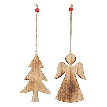 Motifs 'ange & sapin' en bois à suspendre, marron/écru, 2 pièces