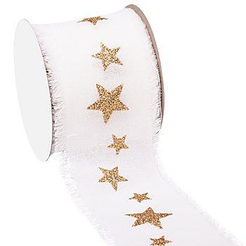 Sterneband, weiß-gold, 60 mm, 2,5 m