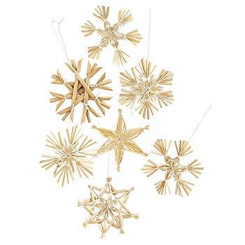 Étoiles en paille, écru, 6 cm, 27 pièces