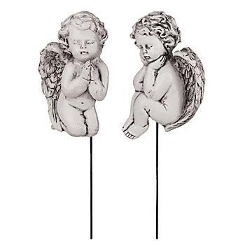Polyresin-Engel mit Stecker, weiss-schwarz, 8 cm, 2 Stück