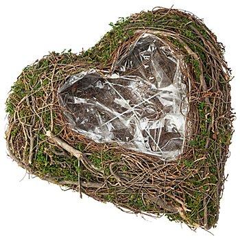 Reben-Moos-Pflanzherz, braun-grün, 30 cm