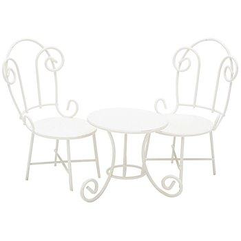 Sitzgruppe aus Metall, 6,5 x 11 cm und 6 x 6 cm