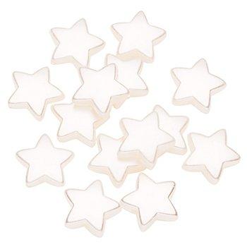Perles en forme d'étoile, crème, 1,5 cm, 24 pièces