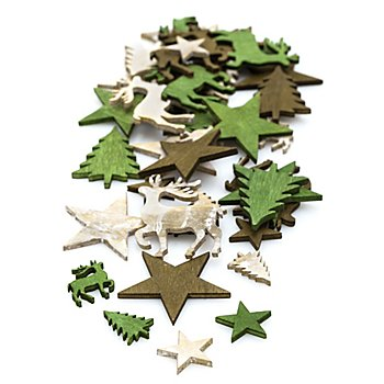Confettis de table 'renne, étoile et sapin', vert/marron/écru, 2 -4 cm, 40 pièces