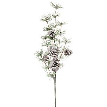 Frost-Kiefernzweig mit Zapfen, 50 cm