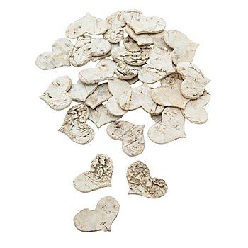 Herzen aus Birkenrinde, 3,5 cm, 30 Stück