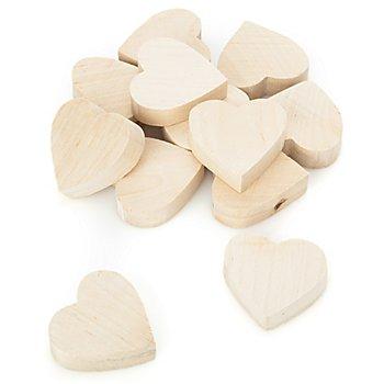 Herzen aus Holz, 12 Stück