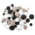 Pompons, weiss-grau-schwarz, 4 - 25 mm Ø, 400 Stück