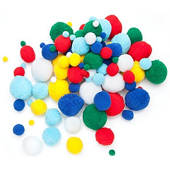 Pompons, bunt, 10 - 50 mm Ø, 100 Stück