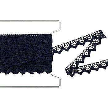 Bordure en dentelle aux fuseaux, bleu marine, 2 cm, 5 m