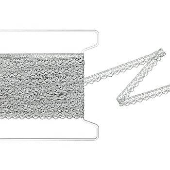 Zacken-Klöppelspitze, silber, Breite 1,3 cm, Länge 5 m