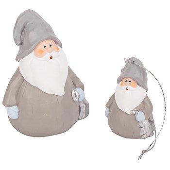 Pères Noël en terre cuite, gris/blanc, dim. : 8 cm et 13,5 cm, 2 pièces