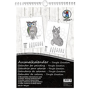 Ursus Ausmalkalender, schwarz-weiss, 21 x 29,7 cm, 1 Stück