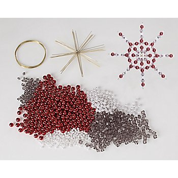 Drahtsterne-Set, rot-grau-weiß, 8 Sterne