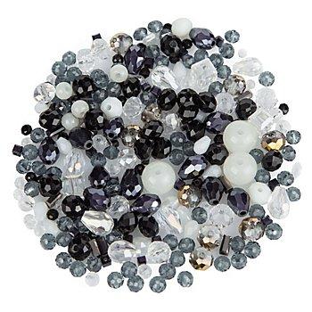 Facettierter Glasperlenmix, schwarz-weiß, 3 - 9 mm, 25 g