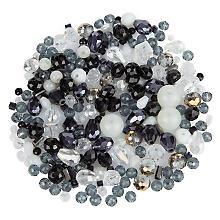 Perles à facettes en verre, noir/blanc, 3 - 9 mm, 25 g