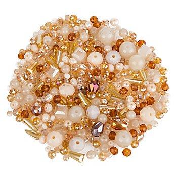 Perles à facettes en verre, beige, 3 - 9 mm, 25 g