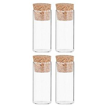 Kleine Reagenzgläser mit Korken, 6,5 x 3 cm Ø, 4 Stück