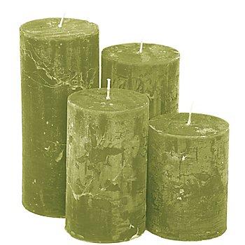 Rustikale Kerzen, grün, abgestuft, 4 Stück