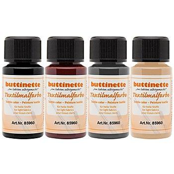 buttinette Stoffmalfarben-Set 'Natur', 4x 50 ml